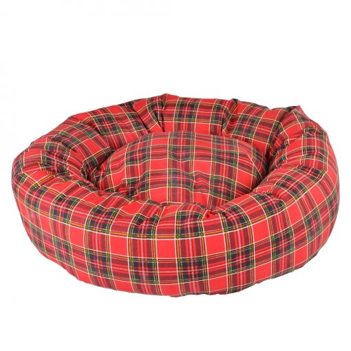 DONUT TARTAN RED DOG BED
