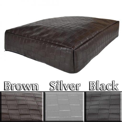 Eco Faux Braid Leather Slumber Pet Cushion brown