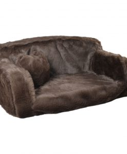 Fur - sofa bed plain colour brown