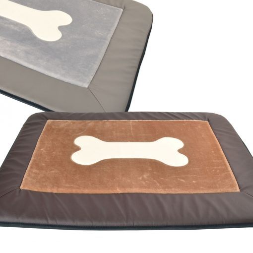 Plush bone mat brown DOG BED