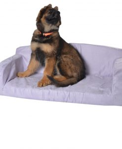 Suede dog bed pink storm