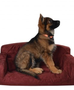 Suede dog bed red storm