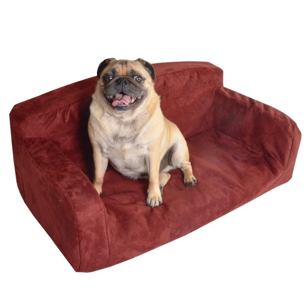 Suede dog bed red Tedy